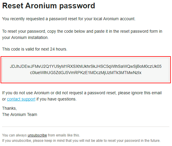 Reset password – Aronium Help Center